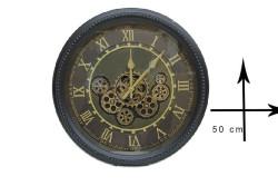 Crownwell - Yuvarlak Roma Rakamlı Spintime Yeşiloksit Çarklı Metal Duvar Saati (1)