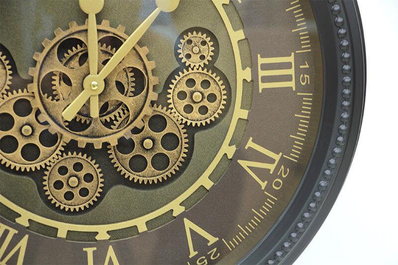 Yuvarlak Roma Rakamlı Spintime Yeşiloksit Çarklı Metal Duvar Saati