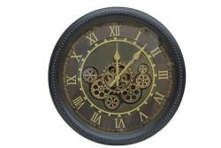 Crownwell - Yuvarlak Roma Rakamlı Spintime Yeşiloksit Çarklı Metal Duvar Saati