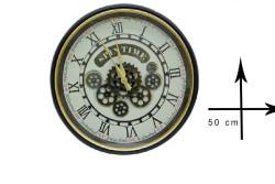 CROWNWELL - Yuvarlak Roma Rakamlı Spintime Mat Siyah Çarklı Metal Duvar Saati (1)