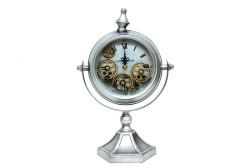 CROWNWELL - Masaüstü Mat Krom Çarklı Saat