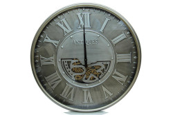 Crownwell - Yuvarlak Antique Yeşiloksit Çarklı Metal Duvar Saati