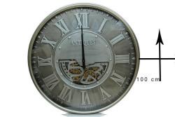Crownwell - Yuvarlak Antique Yeşiloksit Çarklı Metal Duvar Saati (1)