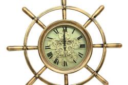 Crownwell - Yuvarlak Dümen Bakıroksit Çarklı Metal Duvar Saati (1)
